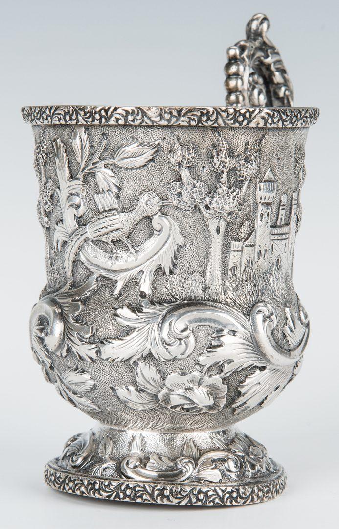 Lot 843: Sterling Repousse Castle Pattern Child's Mug