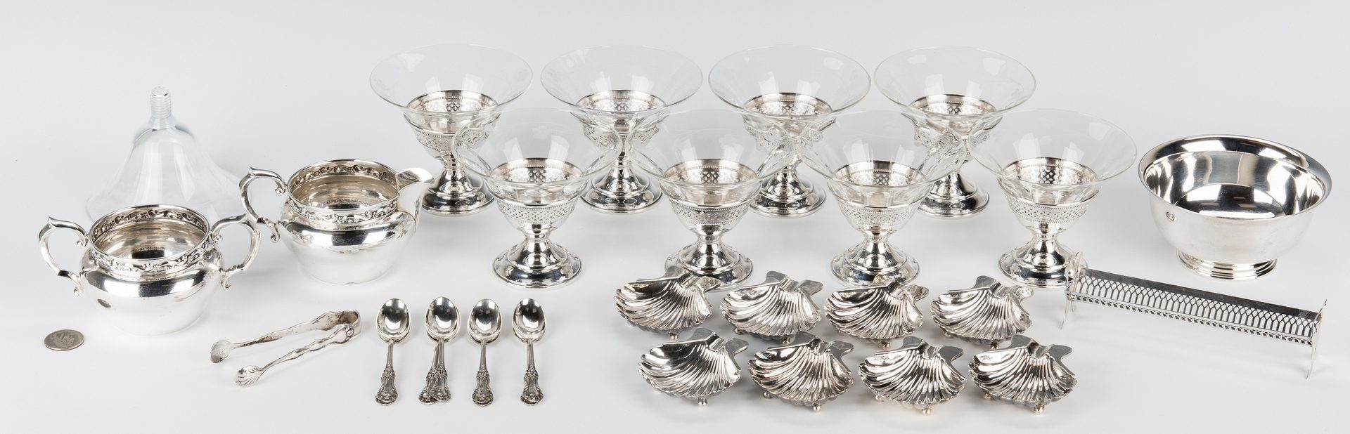 Lot 845: Group Sterling table items incl. Sanborns, 38 items