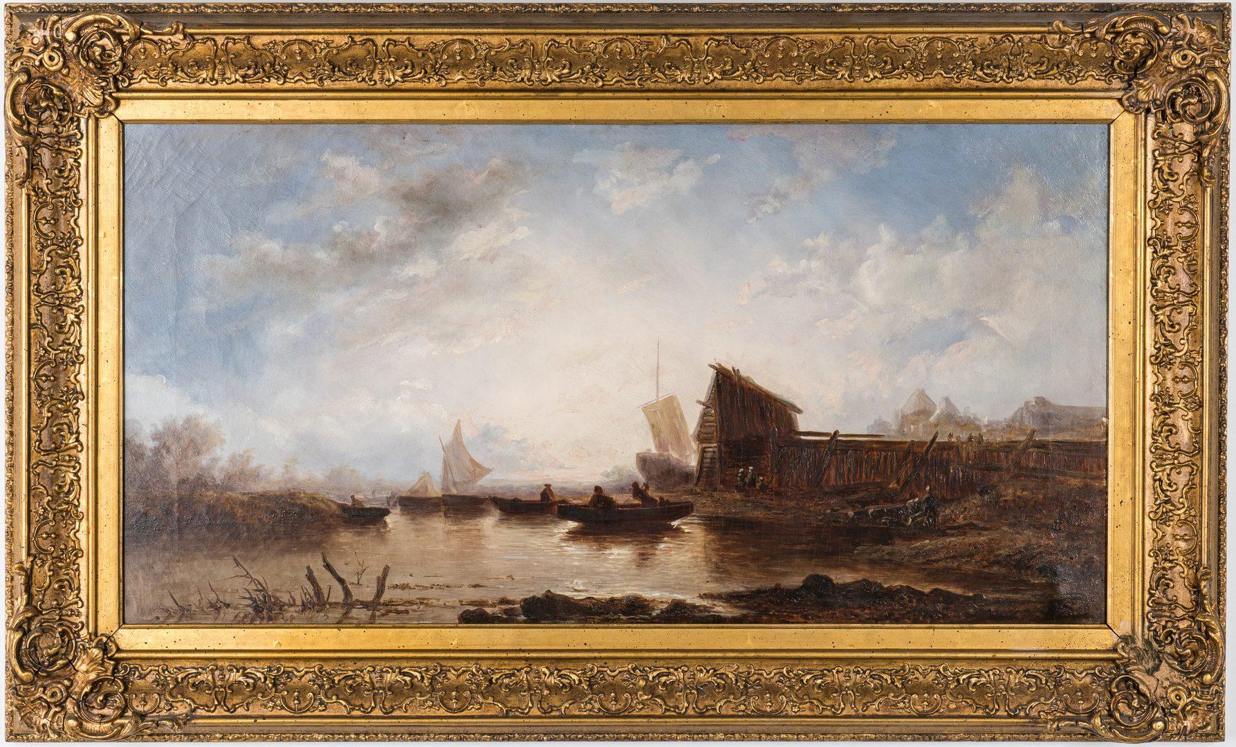 Lot 84: British School 19th C. Harbor Scene, Doneraile inscription