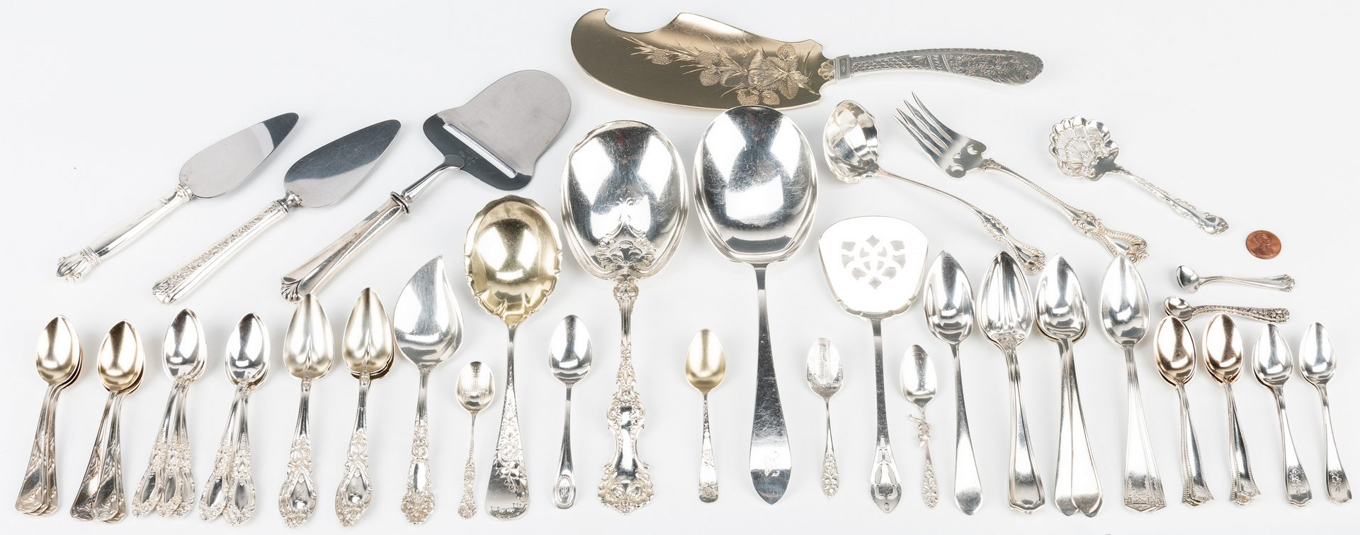 Lot 852: Assorted Sterling Serving Pieces & More, 57 items