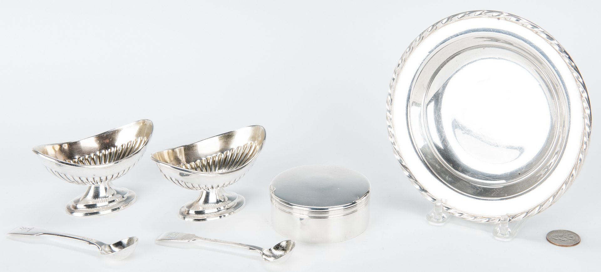 Lot 853: Group of Sterling Silver, incl. Boxed Salt Set