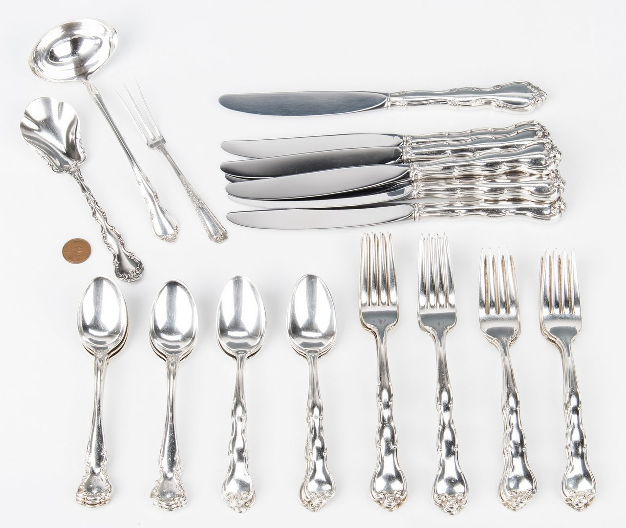 Lot 858: 34 pcs Sterling Silver Flatware, incl. Gorham Rondo