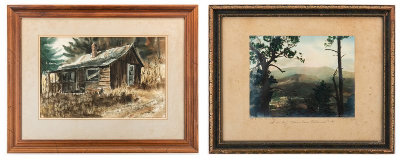 Lot 93: Jim Gray TN Watercolor & Knaffel/Thompson Mt. LeConte Photo, 2 items