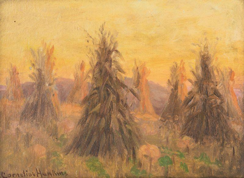 Lot 98: Cornelius Hankins O/B, Haystack Landscape Painting