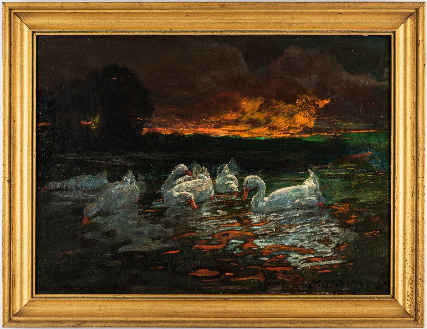 Lot 99: J. W. Wallace O/C, Swans at Sunset