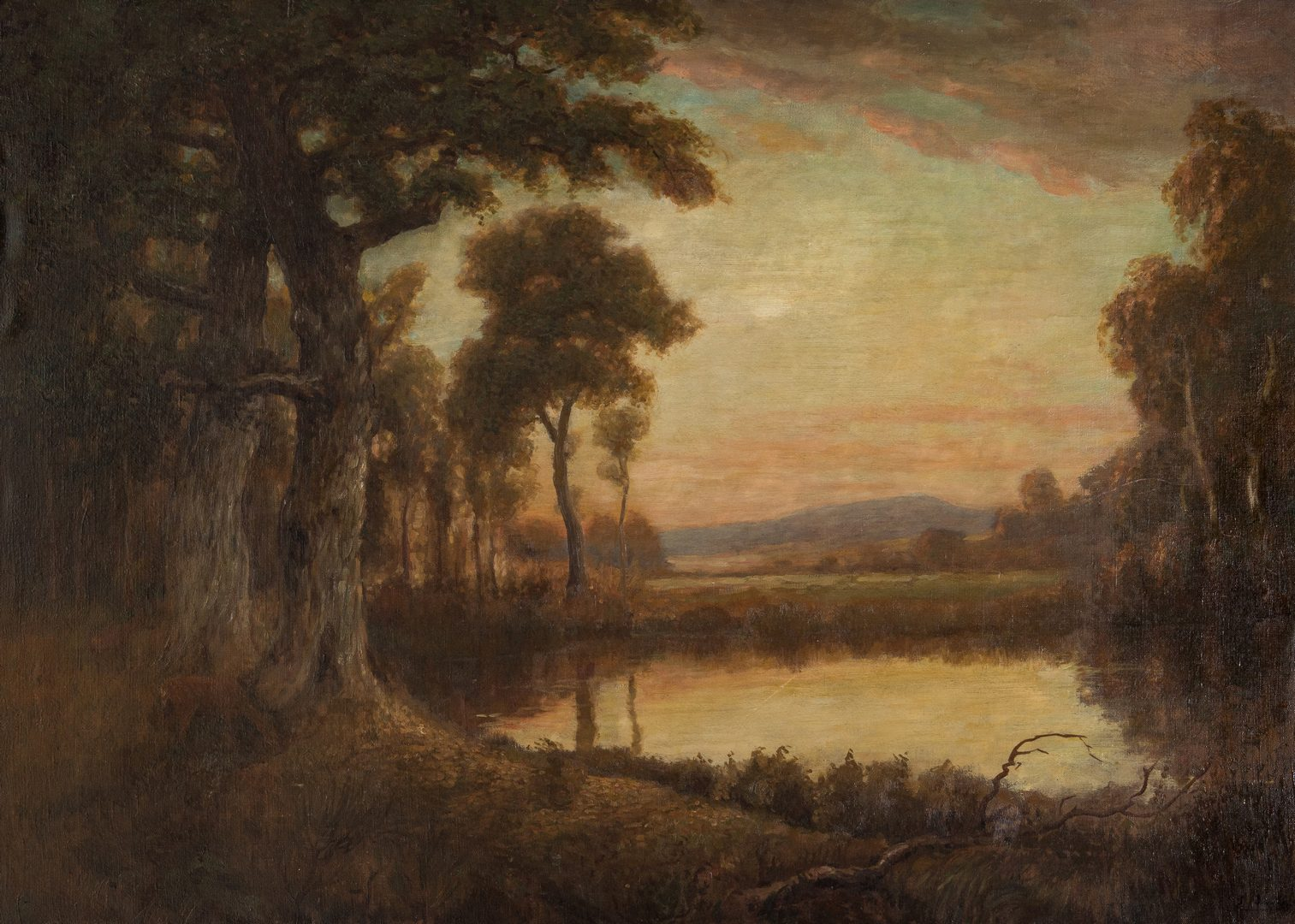 Lot 100: American School O/C, Deer at Pond Landscape