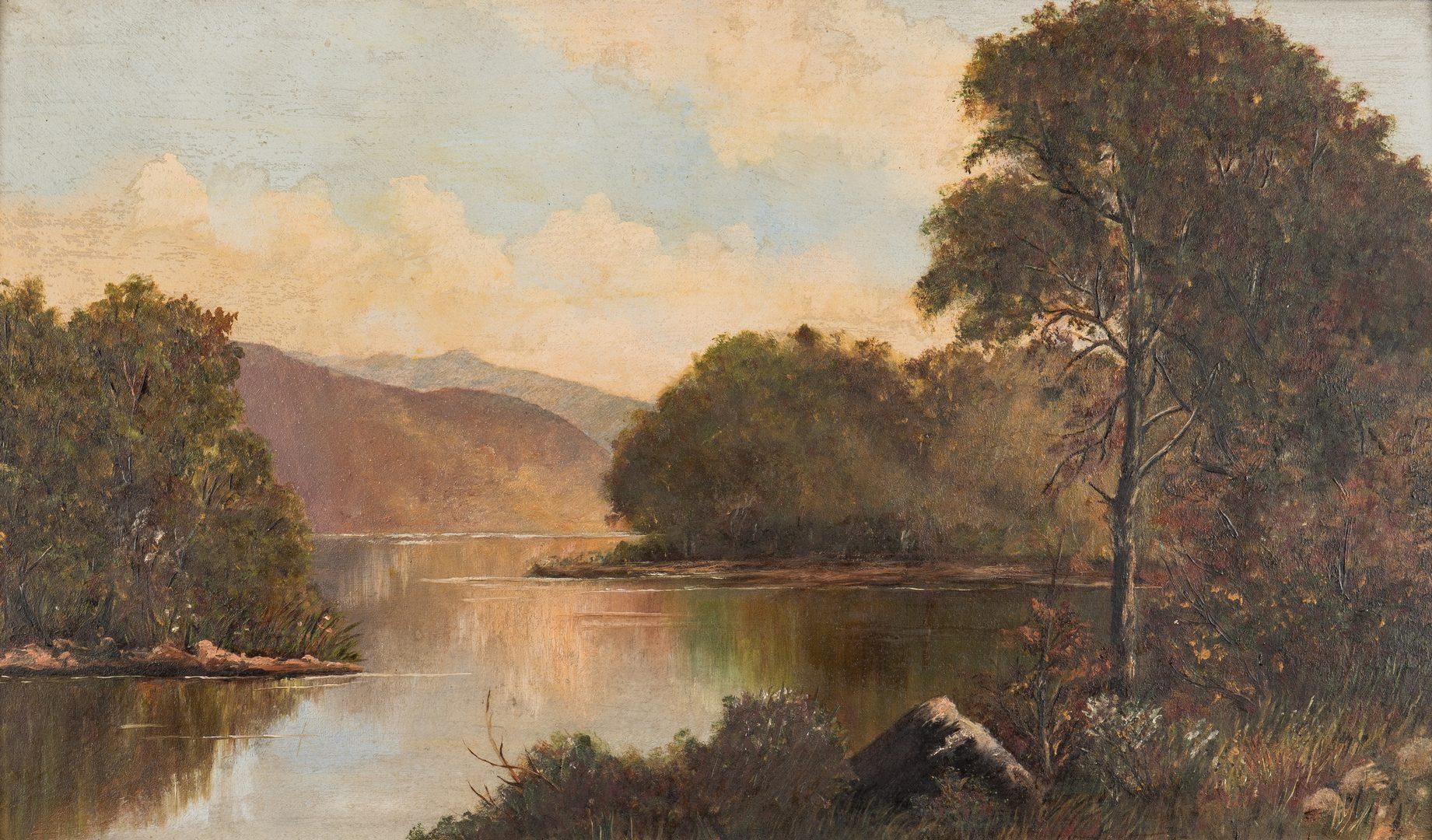 Lot 101: American School O/C, River Scene Landscape, unsigned