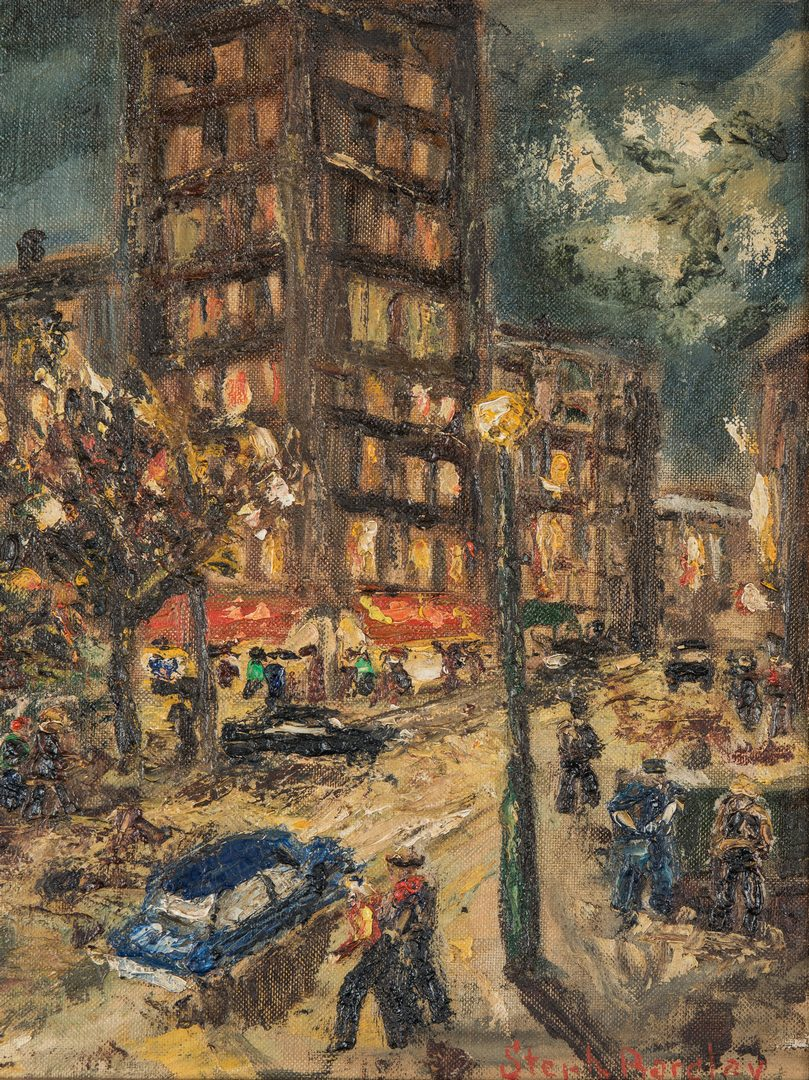 Lot 103: Stephen Barclay O/B, Greenwich Village Scene
