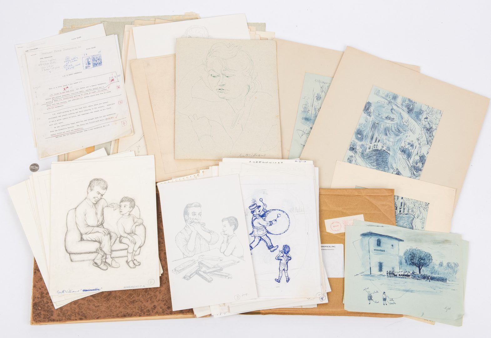 Lot 104: Garth Williams Archive of 340 Sketches, Letters, etc.