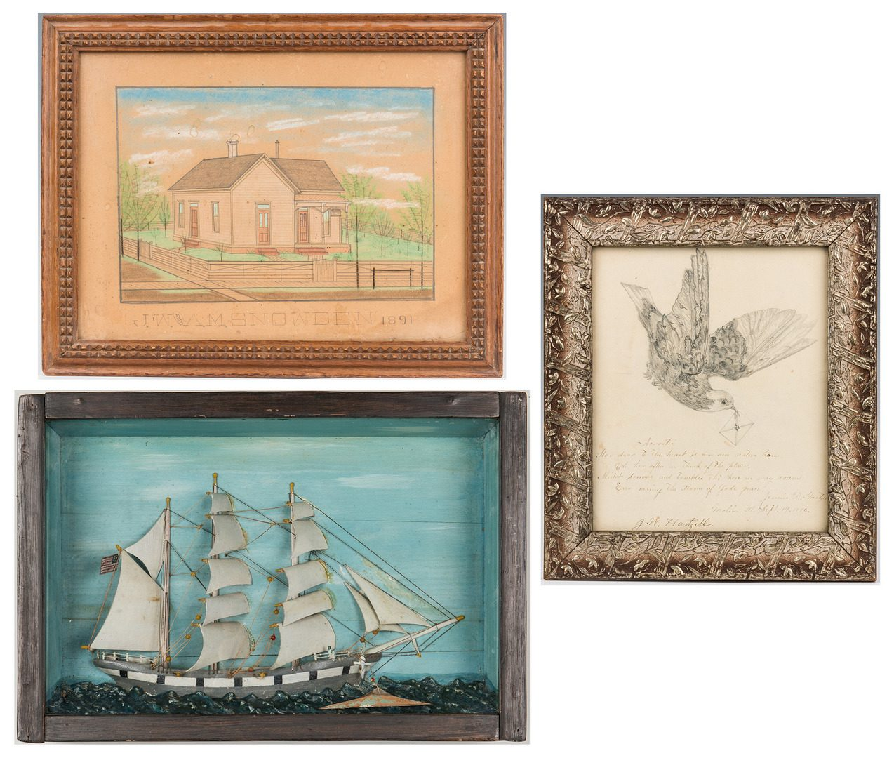 Lot 106: 3 19th Century Folk Art Works, incl. Ship Diorama