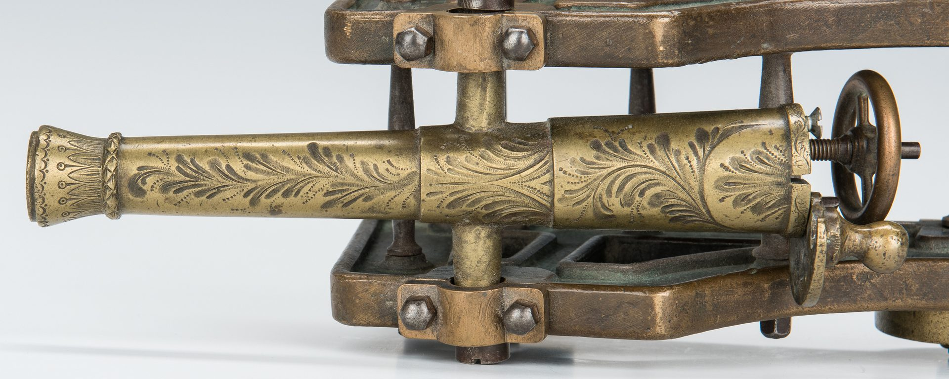 Lot 107: Grenfell Type Rug, Document Box, Inkwell, Miniature Bronze Cannon