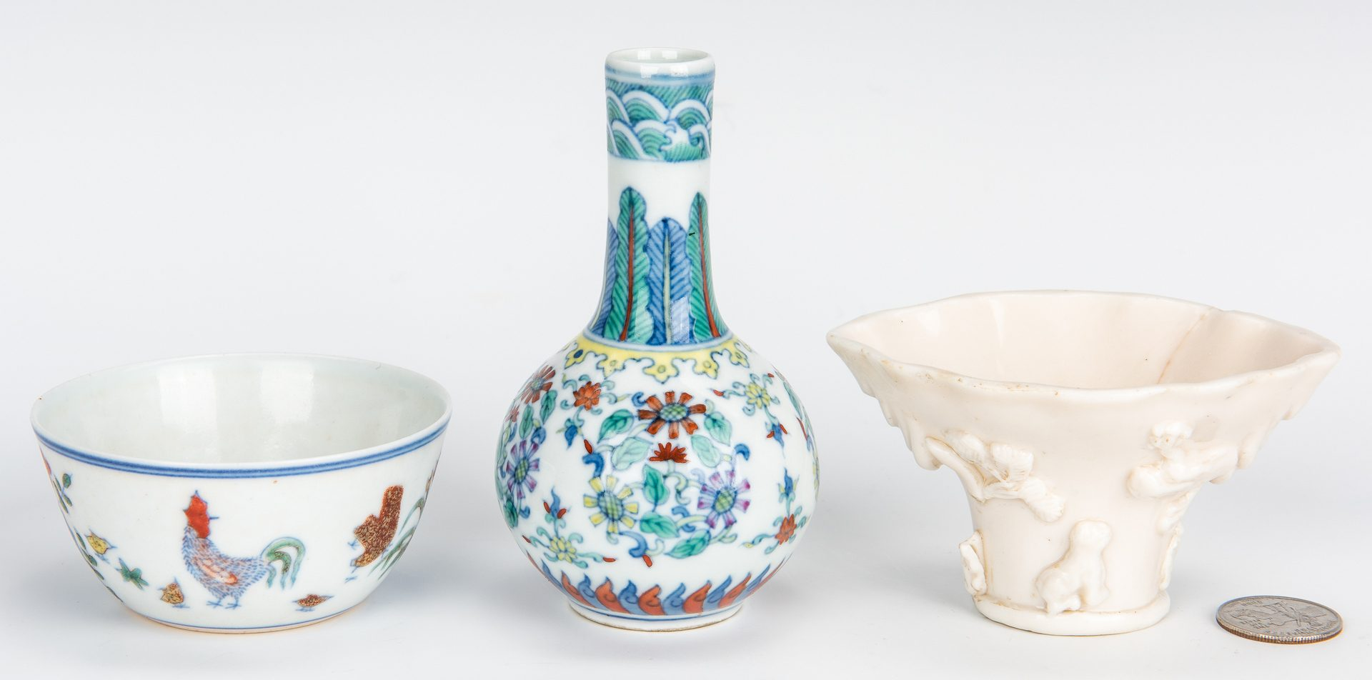 Lot 10: 3 Chinese Porcelain Items, incl. miniature