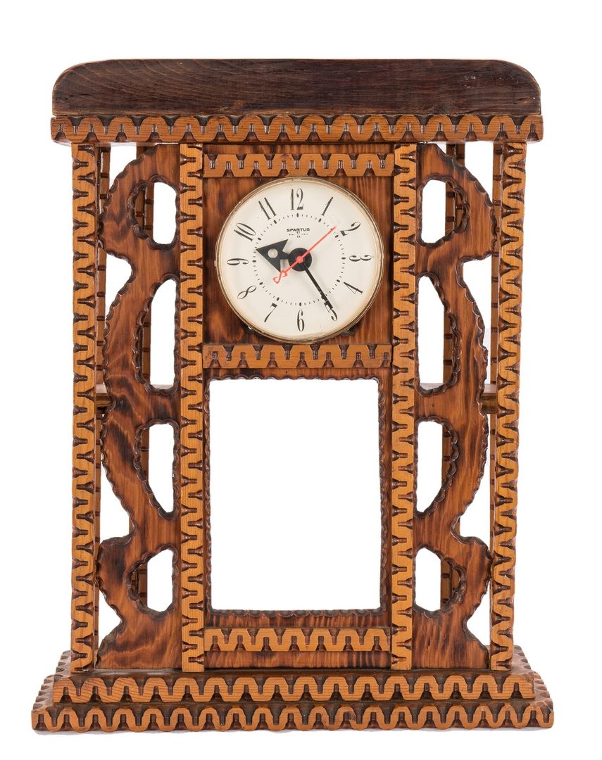 Lot 115: 3 Howard Finster Folk Art Shelf Clock Cases