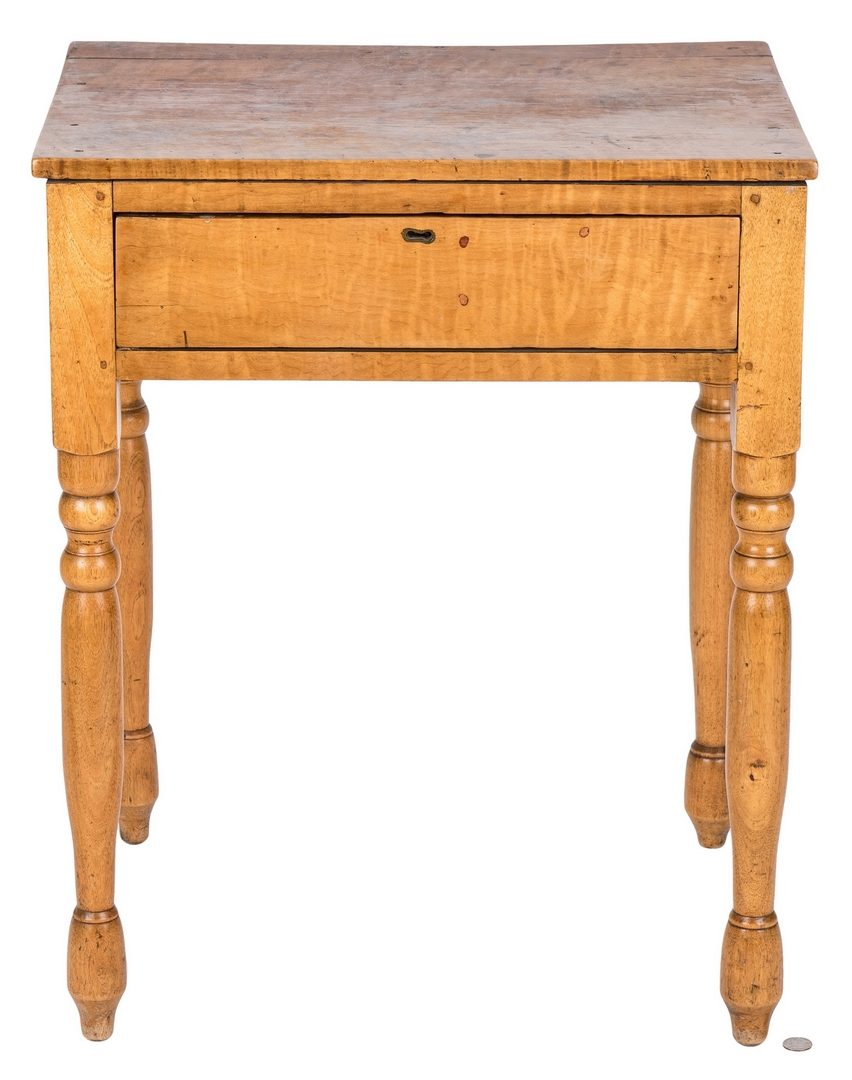 Lot 117: Tiger maple one drawer table