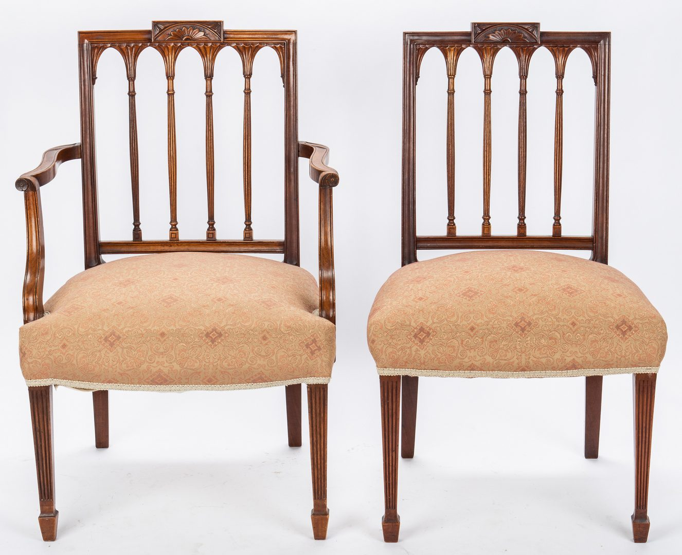 Lot 118: 2 American Federal Square-Back Chairs