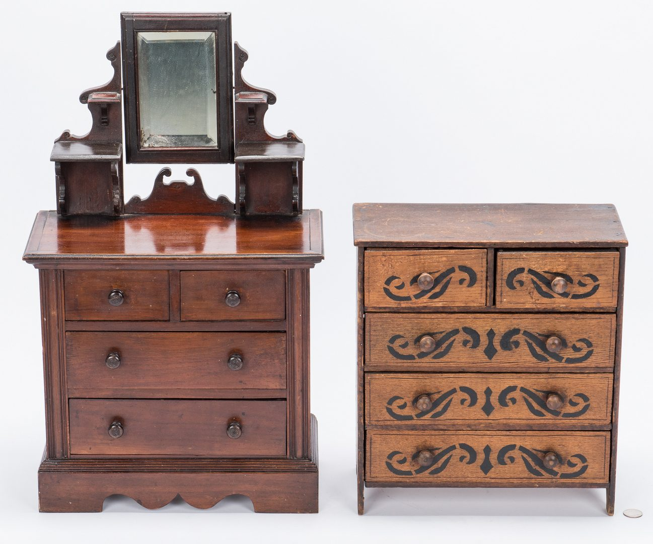 Lot 122: 2 American Miniature Folk Art Chests, 1 w/ Mirror
