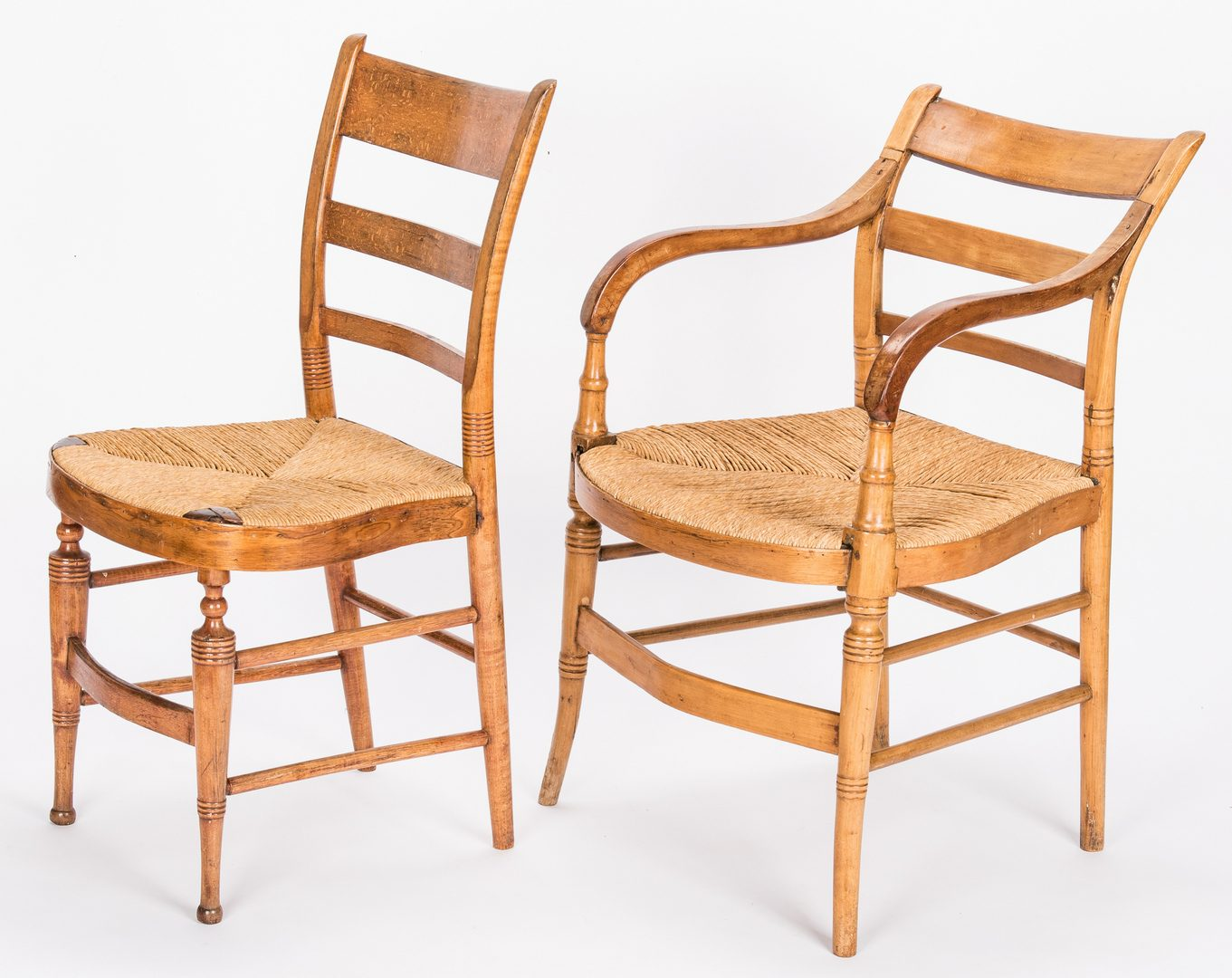 Lot 124: 5 Late Sheraton Southern Tiger Maple Chairs