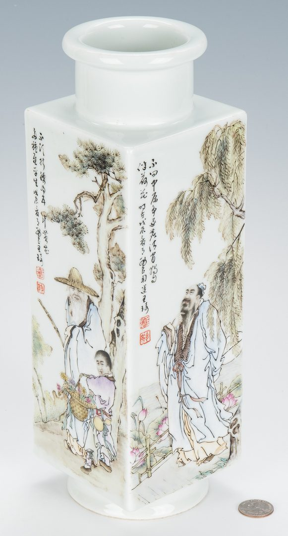 Lot 12: Chinese Famille Rose Porcelain Vase w/ Calligraphy
