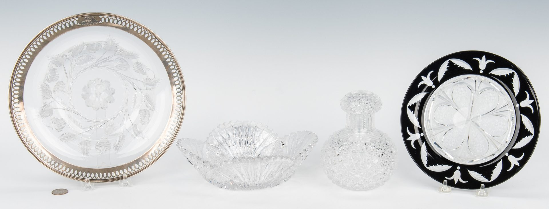 Lot 133: 4 Cut Glass Items, incl. Steuben, Reed & Barton