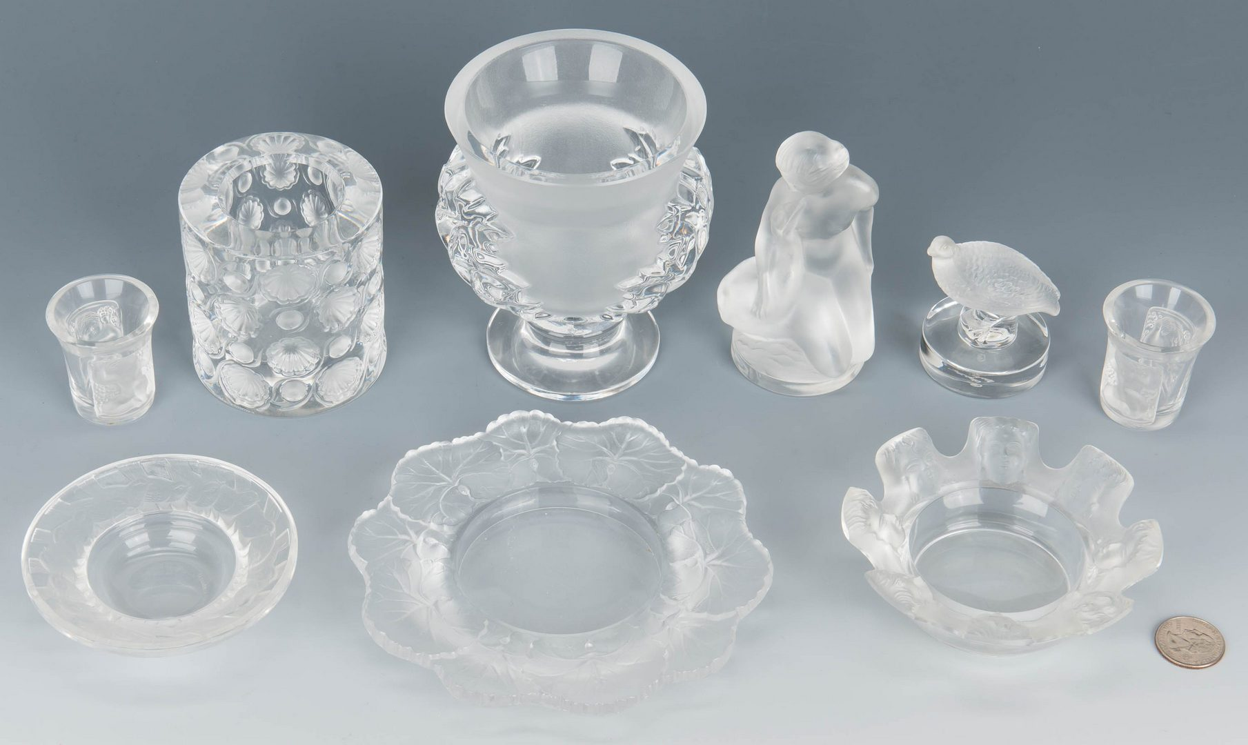 Lot 137: 9 Assorted Lalique Novelty Crystal Items