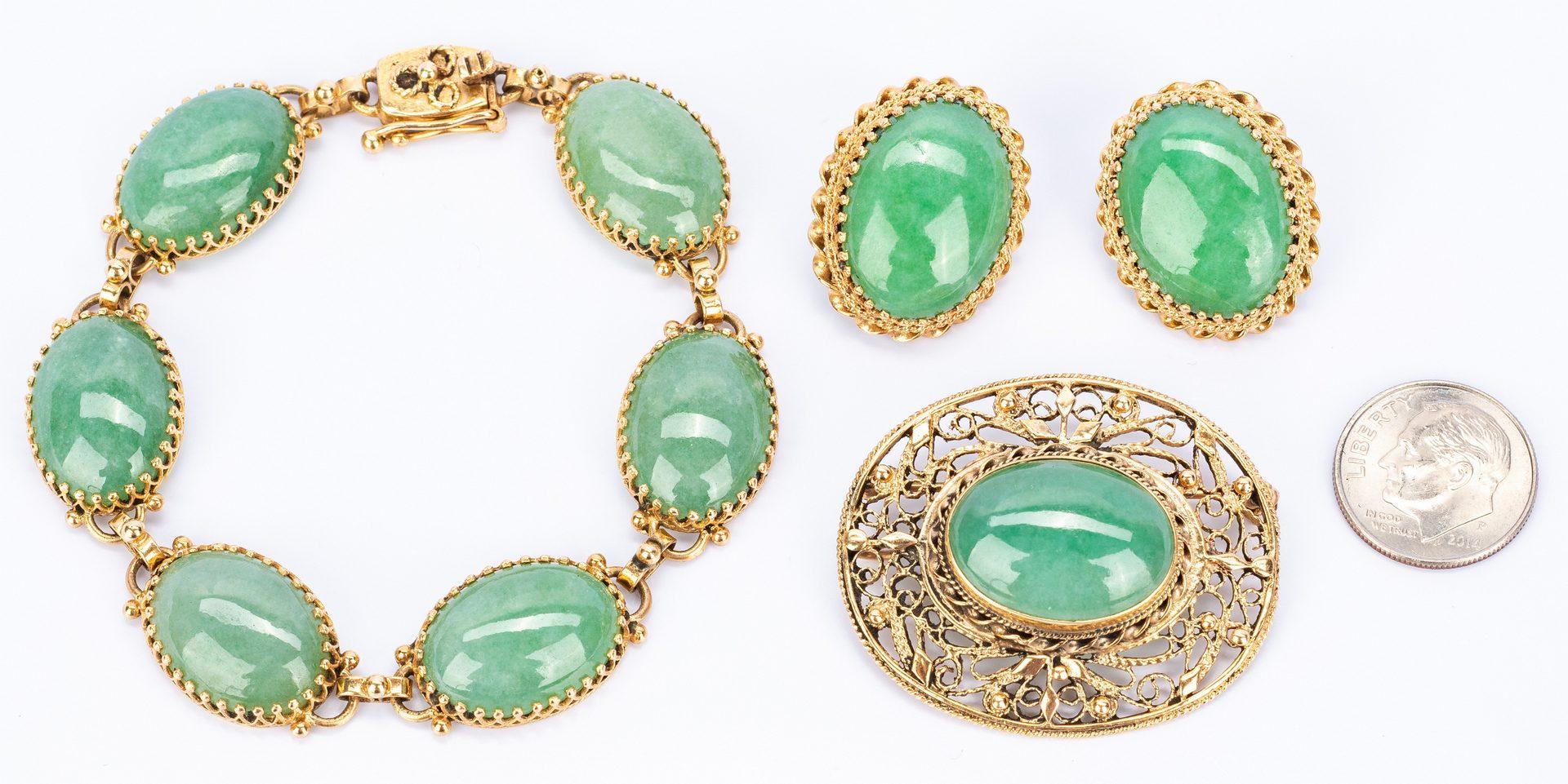 Lot 145: Gold Jewelry Jadite Set