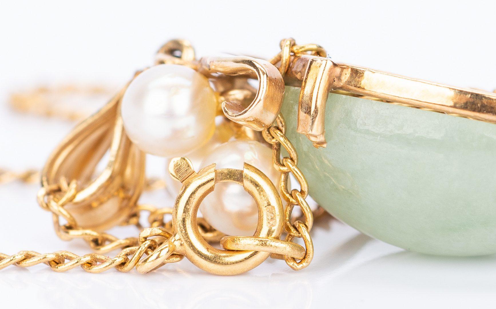 Lot 146: 14k Dragon Diamond Ring w/ Jade Jewelry