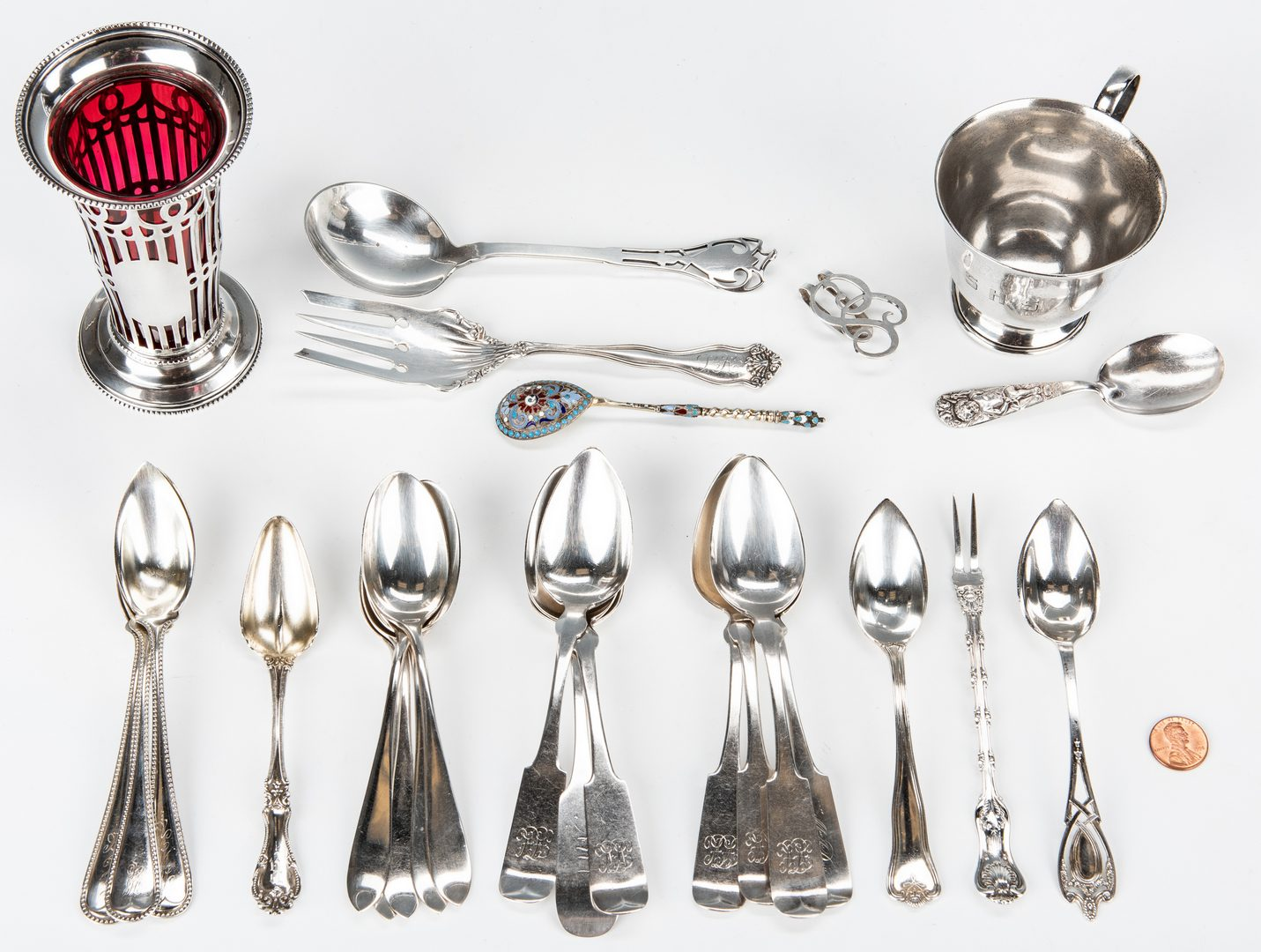 Lot 150: 50 Items Assorted Sterling Flatware & other