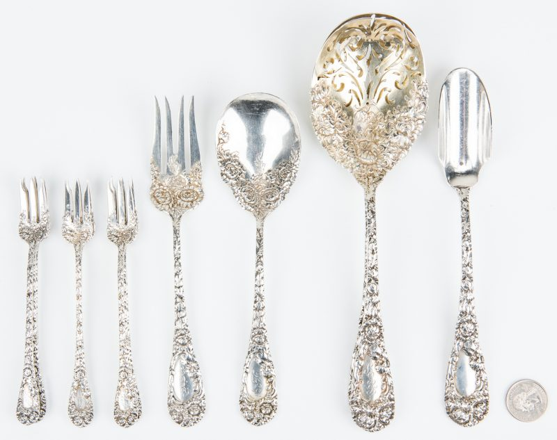 Lot 157: 14 Durgin Sterling Chrysanthemum Pieces