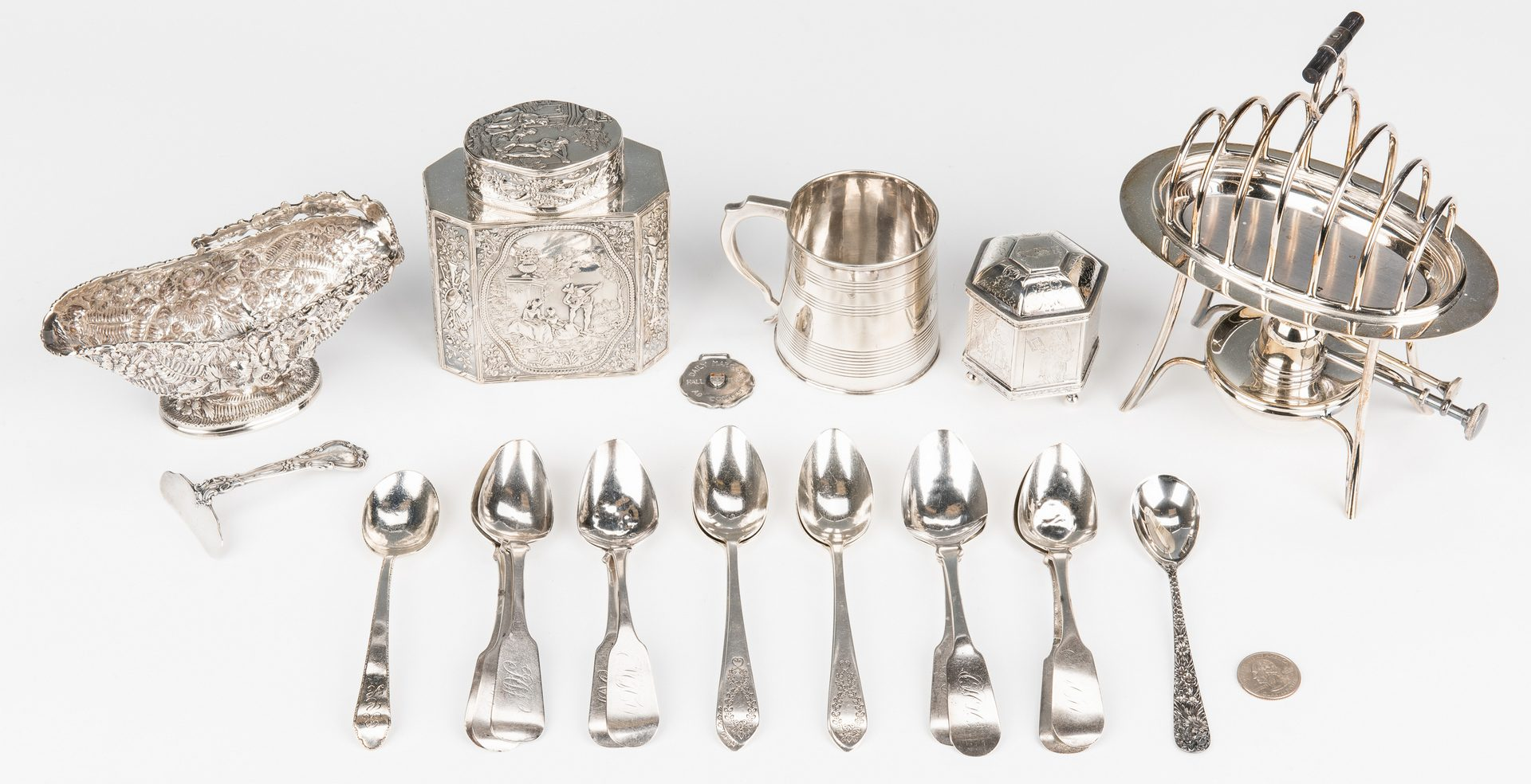 Lot 158: 22 pcs Sterling plus other Flatware/ Holloware