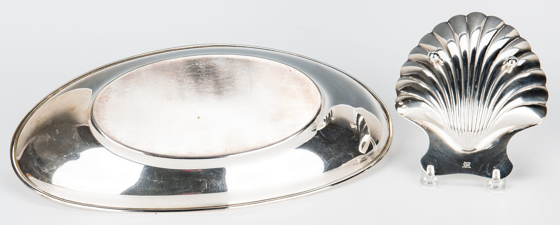Lot 161: Tiffany Sterling Shell & Gorham Sterling Bread Tray