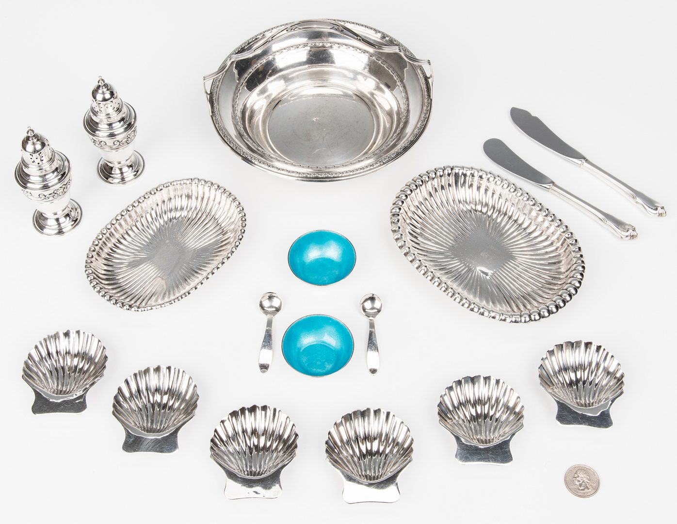 Lot 162: 18 Assembled Sterling Silver Table Items & 6 others