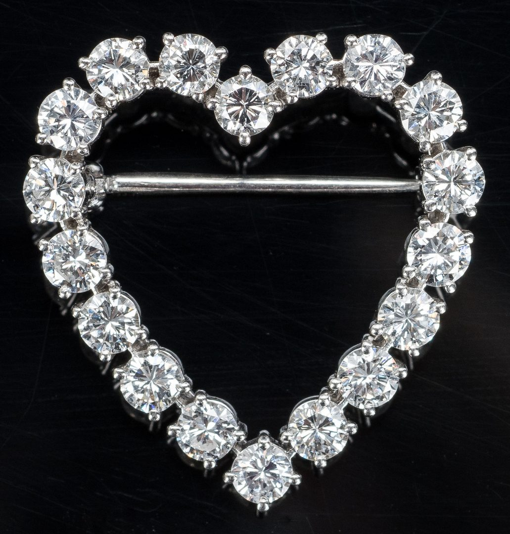 Lot 17: Tiffany Diamond Heart Brooch plus Pearl Pin