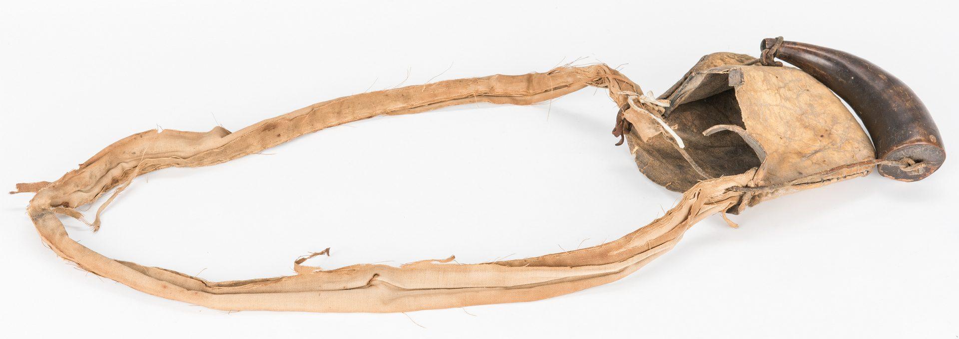 Lot 182: 3 Powder Horns w/ Bags & Spyglass, 6 items