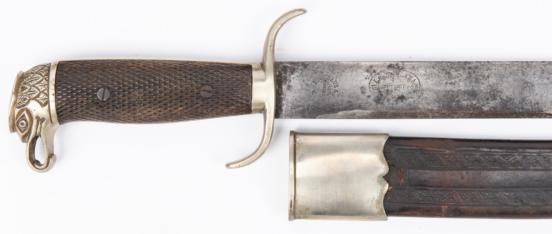 Lot 184: 2 19th Cent. Firearms, 1 WWI era German Machete, 3 items
