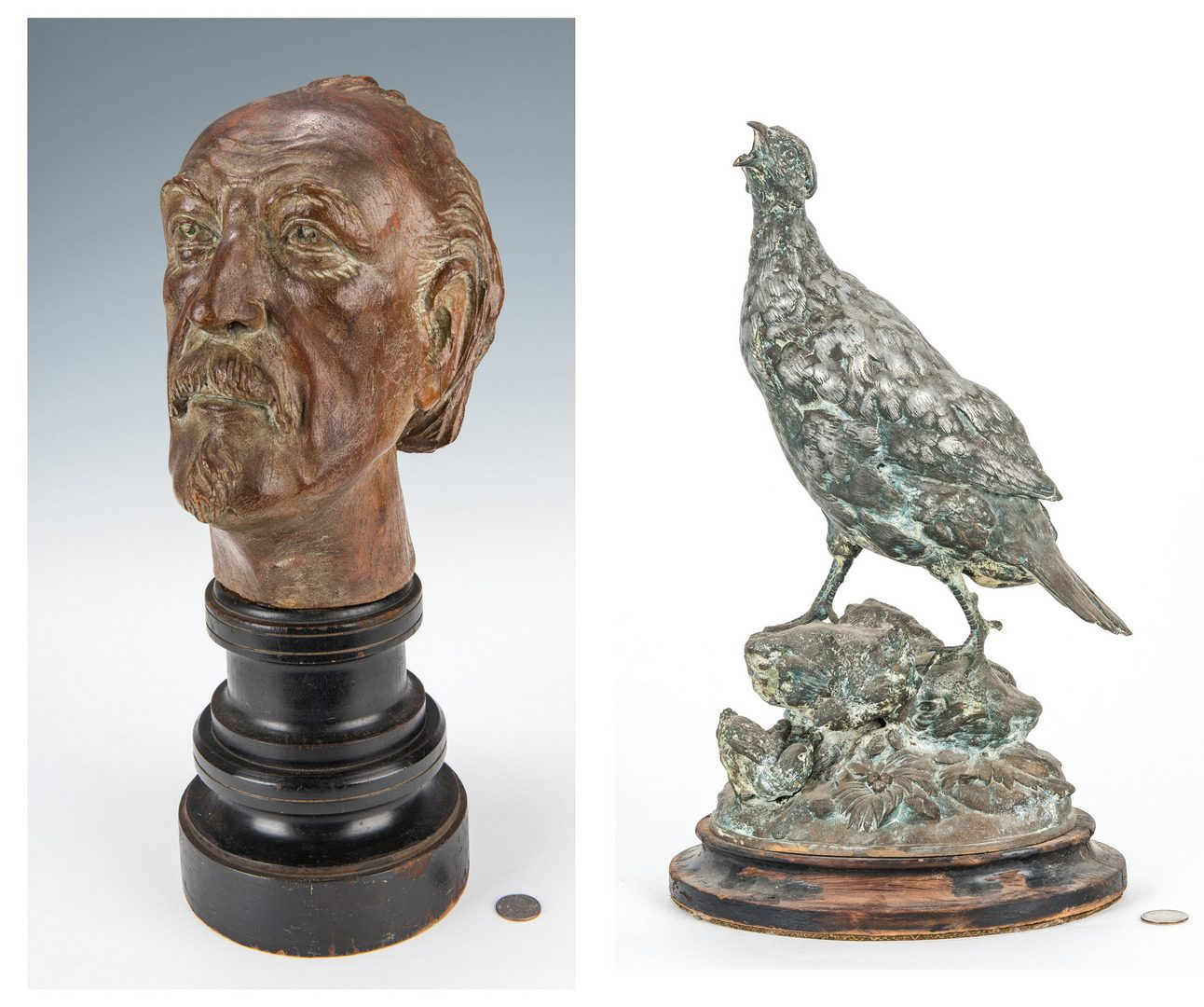 Lot 189: Paul Comolera Figural of Guinea Bird w/ Chicks and Carved Continental Wood Head