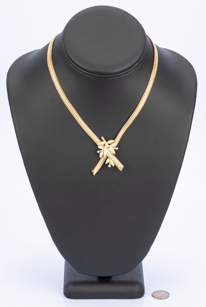 Lot 18: 14k Choker Necklace with Diamonds