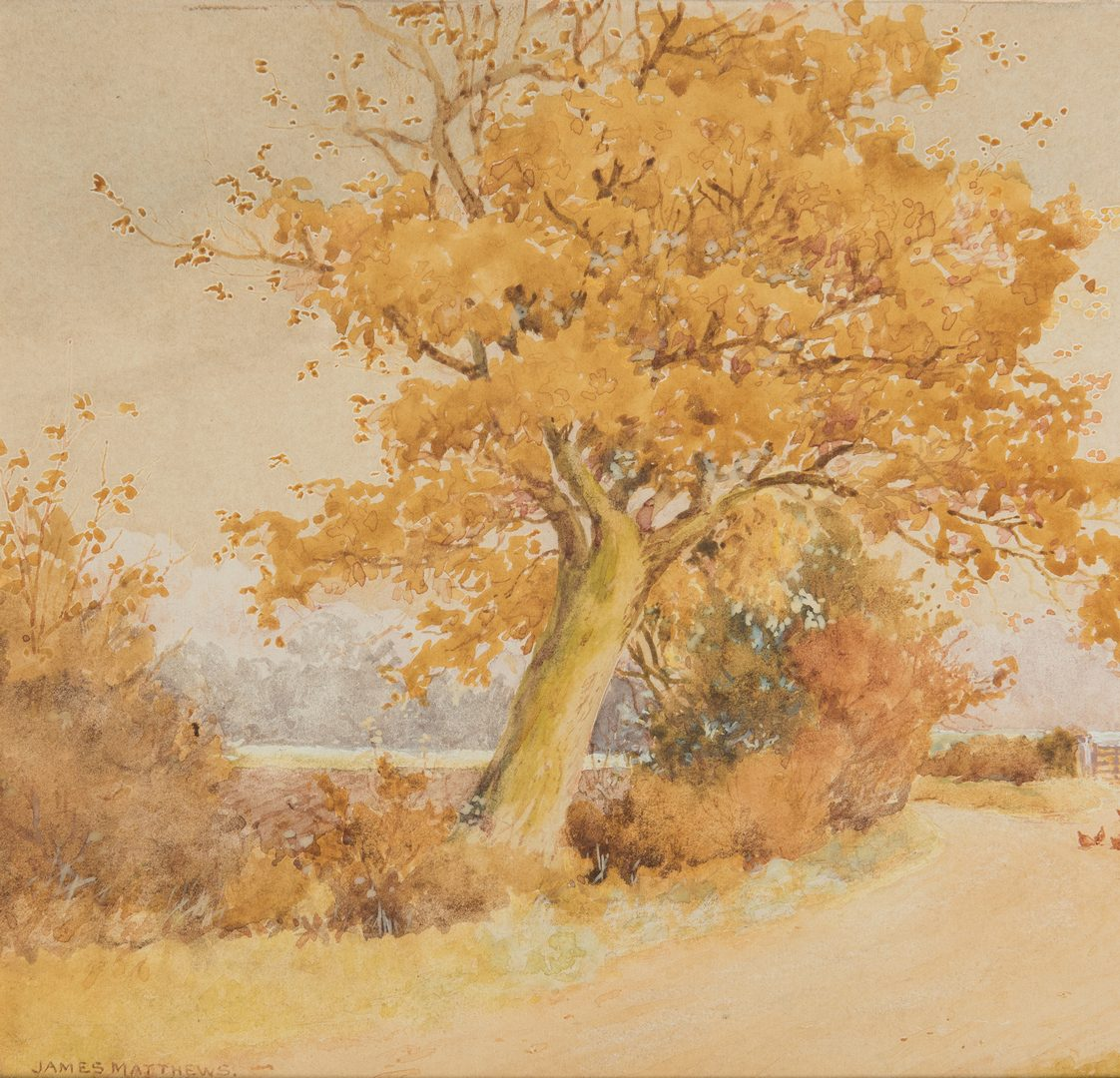 "Lot 194: James Matthews Watercolor, ""English Countryside"""