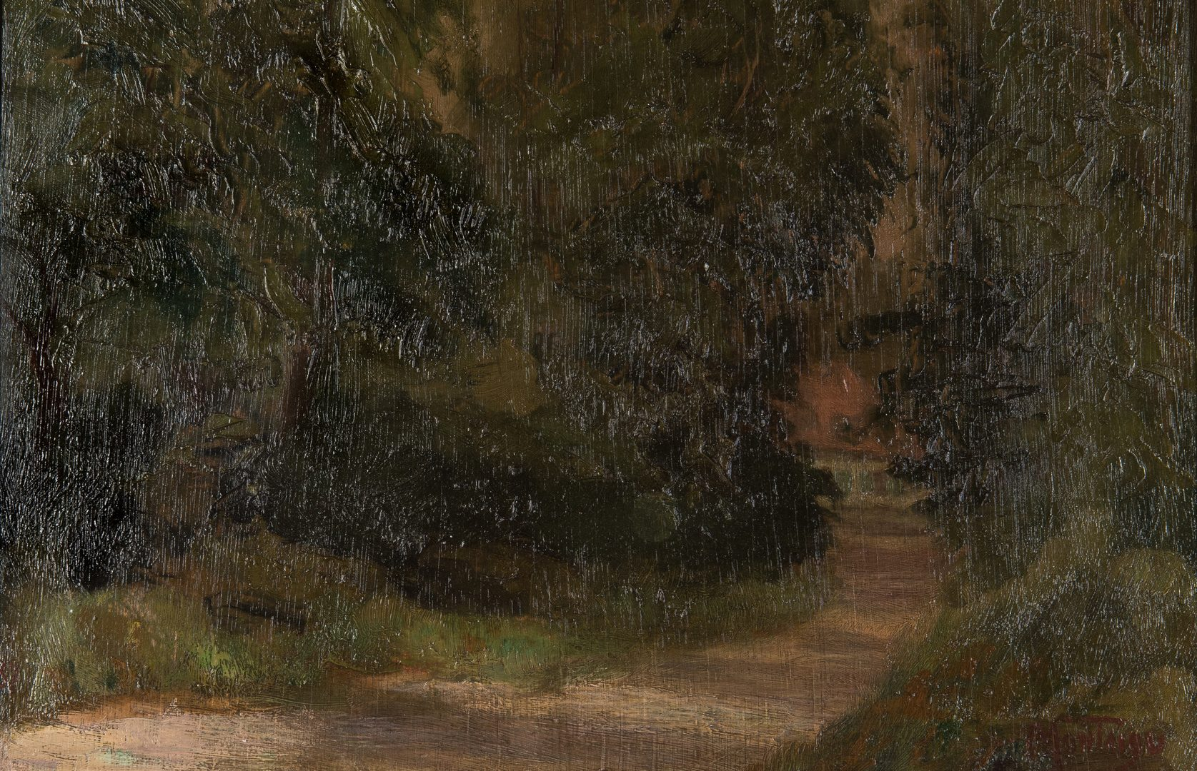 Lot 195: Louis Montaigu, Oil on Board, Trees