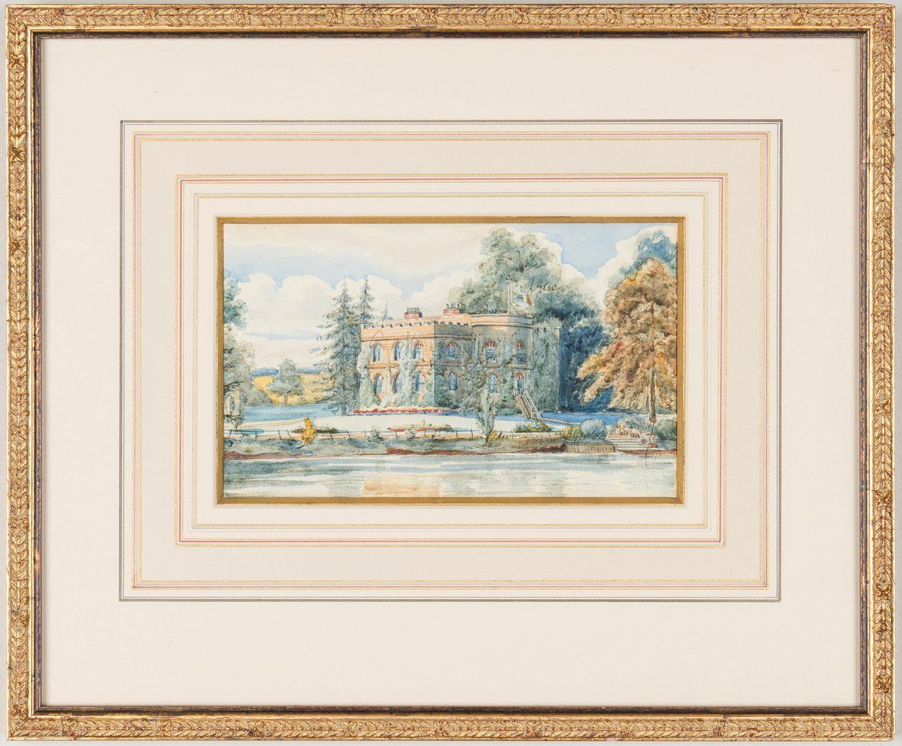 Lot 197: 3 European Watercolor Paintings, incl. Manor House, Butterflies