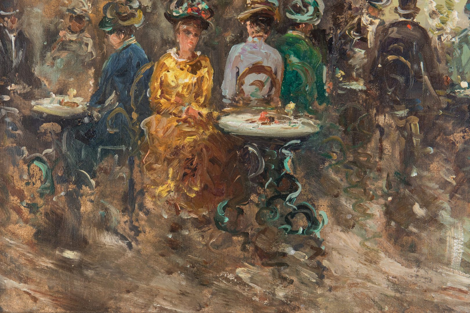 Lot 199: M. Passoni O/C, French Cafe Impressionist Painting