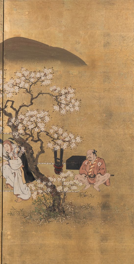 Lot 1: Japanese Screen, Dancers and Cherry Blossoms