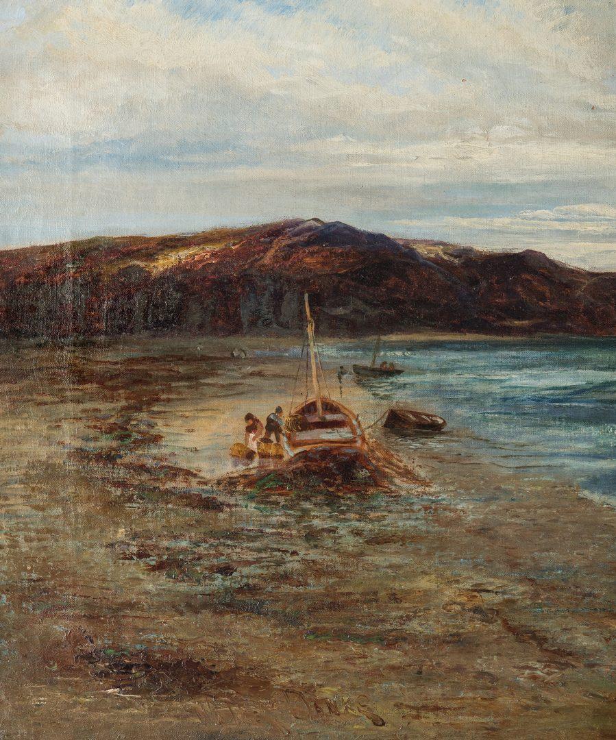 Lot 200: Walter Danks, O/C, Genre Scene of Fishermen