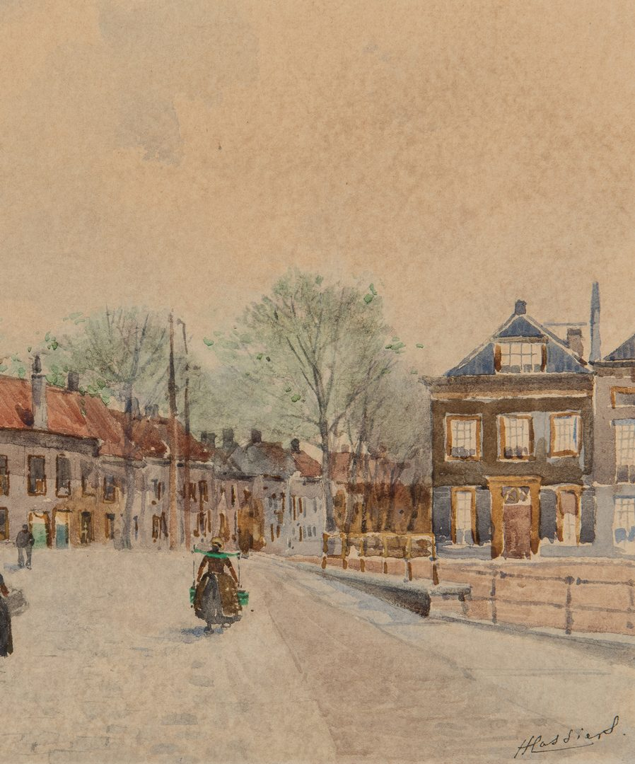 Lot 201: Henry (Henri) Cassiers, Watercolor of Northern European Street Scene