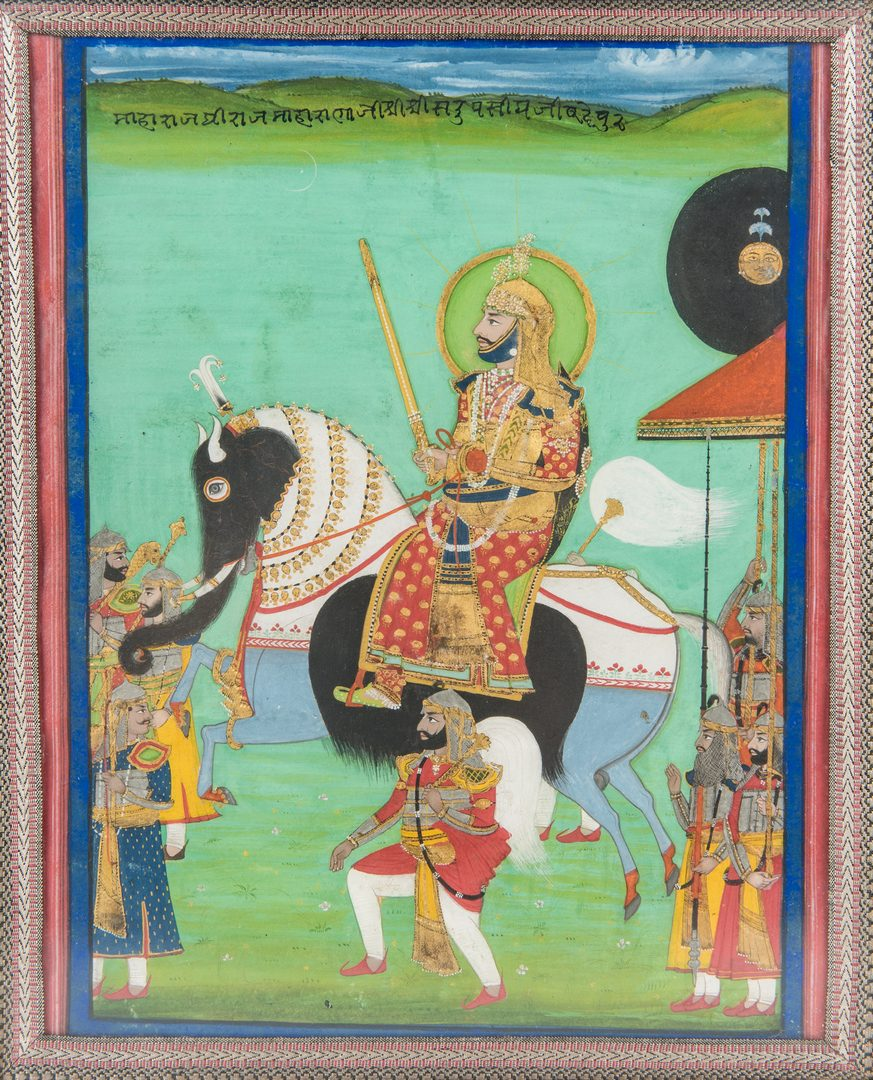 Lot 205: Anglo Indian Watercolor, Mughal Nobleman