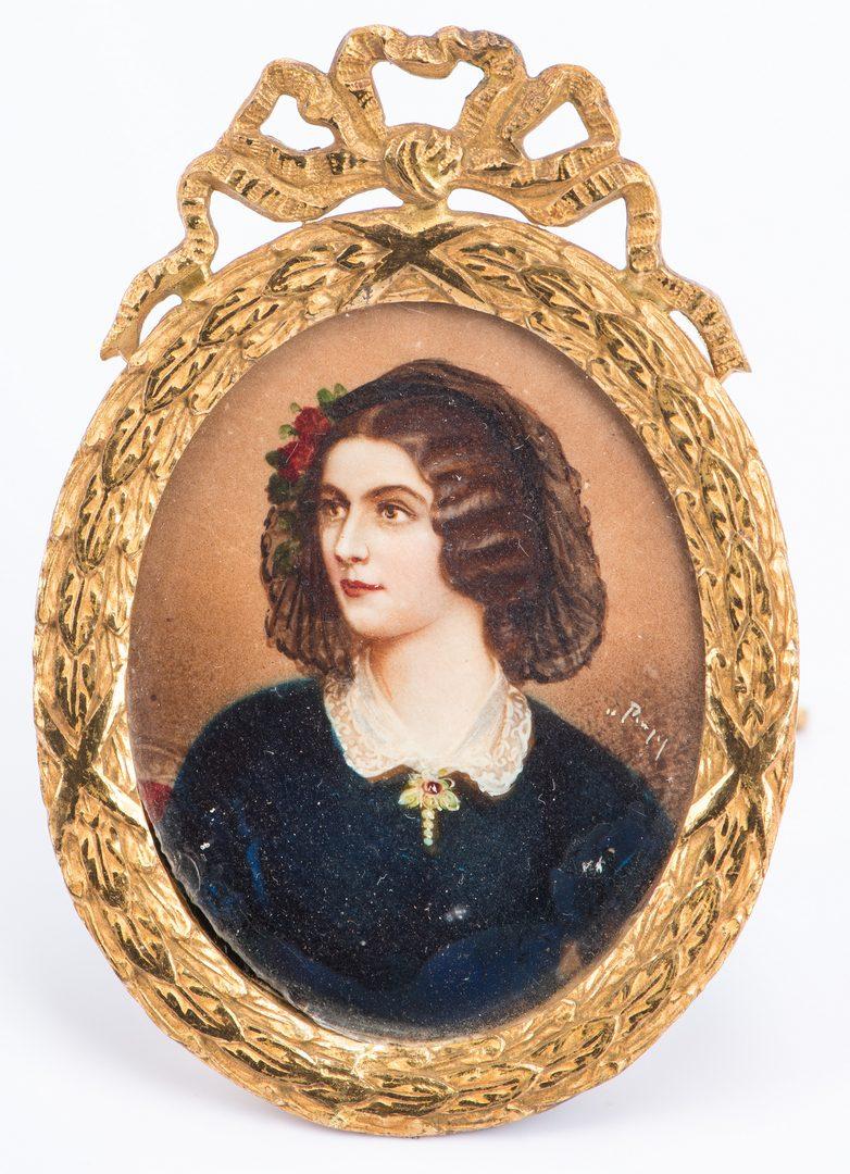 Lot 206: 4  Portraits and Medallions plus Art Nouveau Brooch