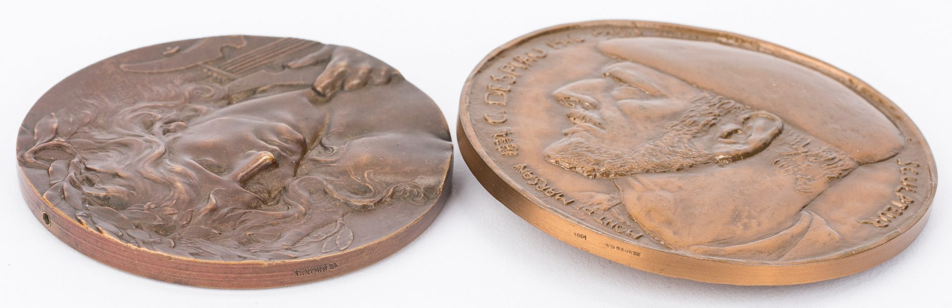 Lot 209: 11 Poet & Artist Related Bronze Medals & Plaques