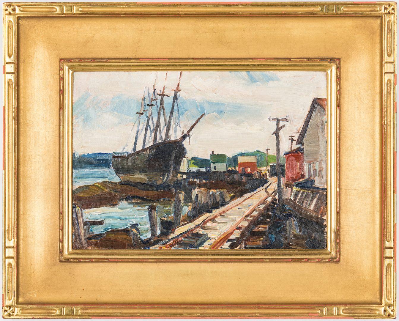 Lot 213: American Harbor Scene, oil on panel