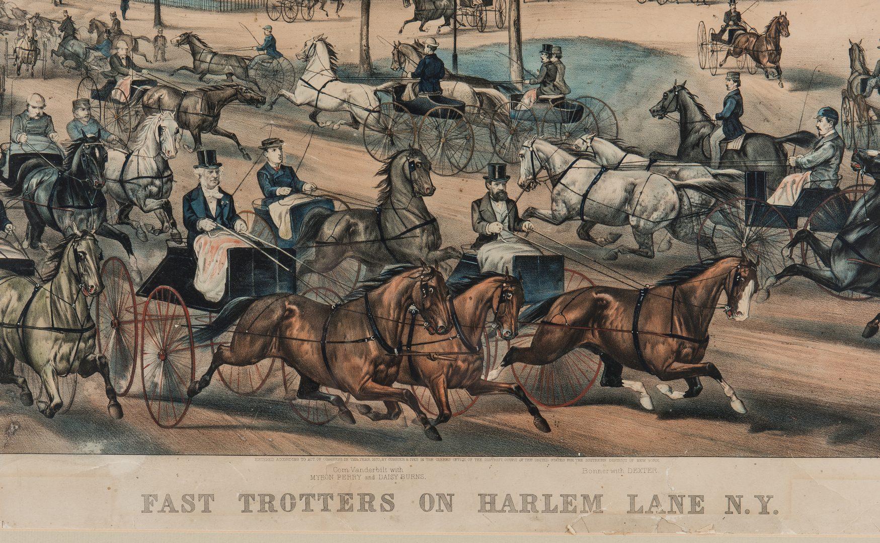 Lot 218: Currier & Ives, Fast Trotters on Harlem Lane, 1870