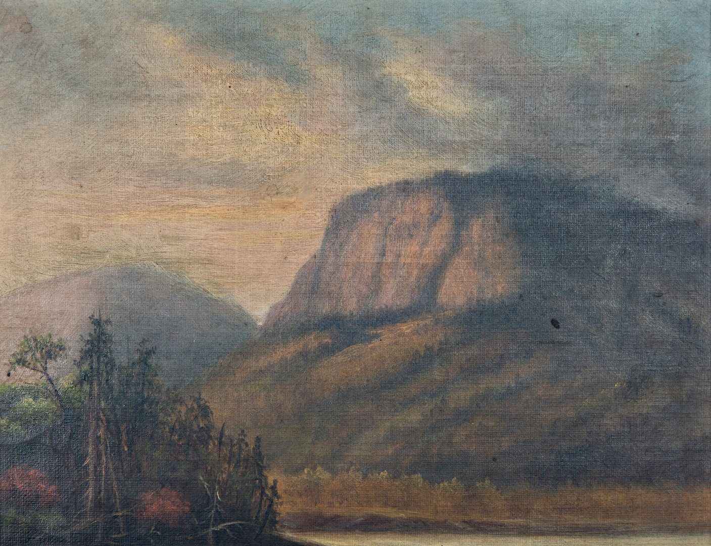 Lot 219: 2 American Artworks, incl. Political Silhouette, O/C Mtn. Landscape