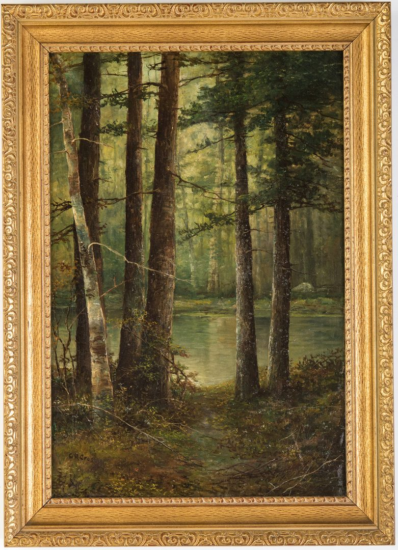 Lot 222: American 19th c. oil landscape, Crosby